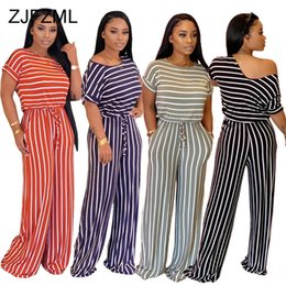jumpsuits one leg Australia - Stripe Plus Size Romper Women Short Sleeve Loose Wide Leg Jumpsuit Elegant Ladies Causal Round Neck Drawstring One Piece Overall T200723