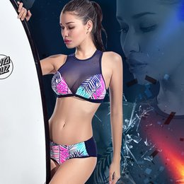Two Piece Rash Guard Swimsuit Bikini Mulheres Set Mid cintura Swimwear Stripe Folhas Surf Suit Zipper Patchwork mangas Rashguard T200710