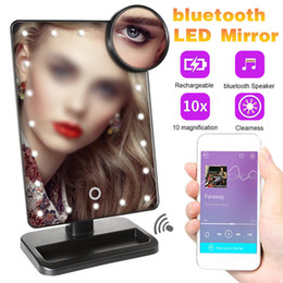magnifying table NZ - 20 Light LED Touch Screen Makeup Mirror 10X Magnifying Mirrors Table Desktop bluetooth 180°Rotation Mirror J2212