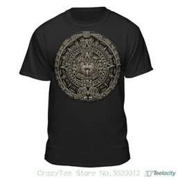 custom carvings Australia - Short Sleeve Summer T-shirt Aztec Calendar Sun Stone Mexican Art Carving Maya Mayans T-shirt