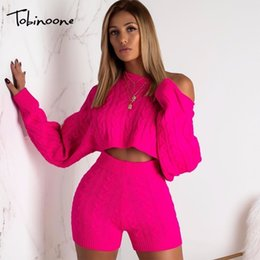 Discount sexy white pants outfits Tobinoone Two Piece Set Women Set Autumn Winter Outfits Long Sleeve Knit Sweater top and shorts Suit Sexy Sweater