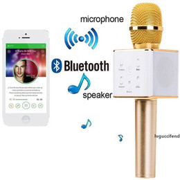magic mic wholesale NZ - Q7 Mini Magic Karaoke Microphone Wireless Condenser Bluetooth Mic Speaker For Iphone XS MAX XR Samsung Galaxy S10 Plus S10e Note 9 8