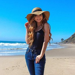 up brim straw hat Australia - FURTALK Summer Beach Hat Women Large Straw Hat Big Brim Sun Hats UV Protection Foldable Roll Up Floppy Cap chapeu feminino 2020 T200720