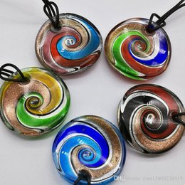 foil pendants Australia - 2017 Maxi Necklace Pendant Necklace Selling Real Colares Femininos Fashion 5pcs Mix 5 Colors Round Foil Murano Lampwork Glass