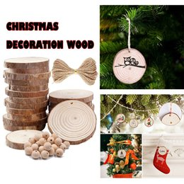 unfinished wood crafts UK - Natural Wood Slices 30 PCS Set 2.4-2.8 Inch Craft Wood Kit Unfinished Home Decoration Accessories Navidad Tree Hanging Ornaments