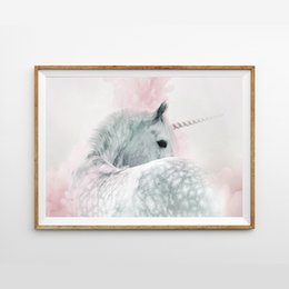 paint pastels Canada - Girls Bedroom Decoration Unicorn Nursery Wall Art Print and Poster Pink And Grey Gray Pastel Pretty Canvas Painting Wall Picture