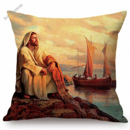 jesus covers 2020 - Christian Art Jesus Christ Oil Painting Home Decorative Sofa Throw Pillow Cotton Linen Bible Story Illustration Cushion