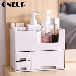 drawer storage box jewelry Canada - ONEUP Double-layer Plastic Cosmetic Storage Box Desktop Storage Box Drawer Jewelry Makeup Lipstick Organizer Bathroom Organizer CX200717