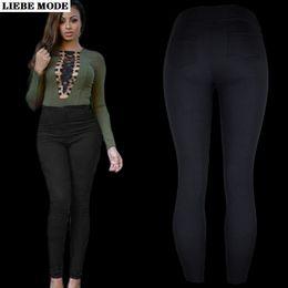 Wholesale capri jeggings resale online – Woman High Waist Capri Legging with Pockets for Women Solid Gray Red Blue Black Legings Ladies Autumn Cotton Jeggings Pants