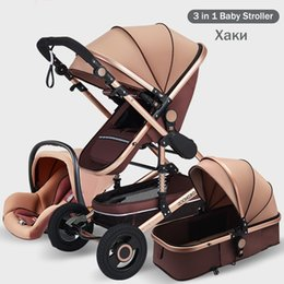 3 in 1 Baby Stroller Portable High Landscape Gold Black Baby Carriage Folding Multifunctional Newborn Infant Stroller on Sale