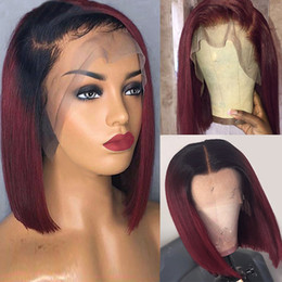 14 inch wigs straight NZ - Dilys 13x4 Straight Burgundy Bob Lace Front Wig Brazilian Human Hair Lace Front Wigs Pre plucked 150% Density 10-14 inch
