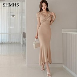 Wholesale tight fit v neck for sale – dress British Style Elegant Party Dress Summer Khaki Simple Crossover V Neck High Waist Tight Fit And Fishtail Hem Women s Dress