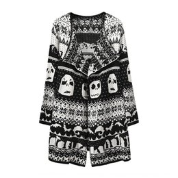 Wholesale knitted skull sweater for sale – custom 2020 autumn and winter sweater cardigan women s lapel skull Sweater coat mid length knitted outerwear coat