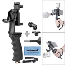 grip video UK - 2in1 Ergonomic Action Camera Hand Grip Smartphone Clip Stabilizer Handle Mount Youtube Vlogger Video Holde Kit for GoPro Sony T200620