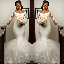 Wholesale nigerian wedding evening dress resale online - 2020 Nigerian African mermaid Plus Size wedding Dresses Long Sleeves Top Lace Sweep Train Maid Of Honor Evening Gowns custom made