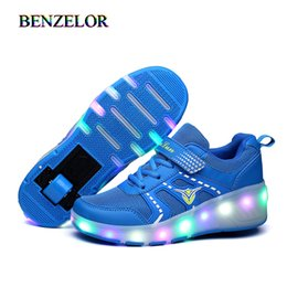wide shoes children Australia - BENZELOR Roller Shoes With Wheels Light Up Shoes Kids Girls Children Led Shoes Luminous Sneakers Wheelys Glowing Illuminated CX200724