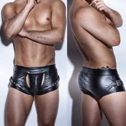 Wholesale short leather men boxer for sale - Group buy Sexy Men Punk Plus Size Wild PU Faux Leather Open Crotch Short Boxer Bandage Clubwear Jockstrap Fetish Gay Wear Erotic lingerie1