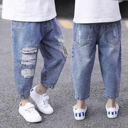 Wholesale patched boy jeans for sale – denim Boys Autumn new children s Korean style fashionable hole and jeans trousers and jeans ankle length pants patch pants
