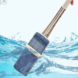 steel houses UK - Flat Mop Free Hand Washing Stainless Steel Handle Spin Mop Home House Office Cleaning Tool Microfiber Pad Kitchen Floor Clean T200628
