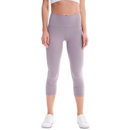 womens white yoga pants UK - New Yoga Cropped Pants Womens High Waist Hip Running Fitness Tight Pants Nylon High Elastic Yoga Pants Gym Clothing