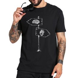 road signs Canada - Road Sign Tshirt Follow Heart Or Brain Cool Design Camiseta High Quality Black 100% Cotton T shirt EU Size
