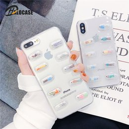 transparent cute cartoon case NZ - 3D Cute Pills Capsules Cartoon Case iPhone 11 Pro XR XS MAX 7 6s 6 Plus Transparent Cover For Xiaomi Note3 mi6 6X 8 9