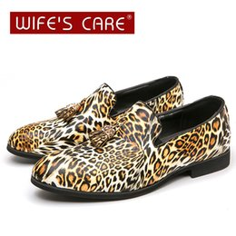 leopard hair shoes UK - New hair stylist nightclub shoes pointed toe leopard print leather shoes men's casual fashion small leather