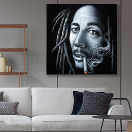 bob marley home decor Canada - Bob marley legend Smoking Oil Painting Black Velvet Canvas Painting Wall Art for Living Room Home Decor (No Frame)