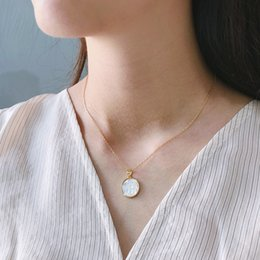 mother pearl for pendant Australia - Chuyau 925 Sterling Silver Shell Angel Baby Pendant Necklace Gold Original Round Western Style Necklace For Women Jewelry Gifts