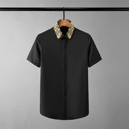 black white male shirt Australia - New Black White Mens Shirts Luxury Gold Embroidery Collar Short Sleeve Mens Dress Shirts Plus Size 4xl Slim Fit Male