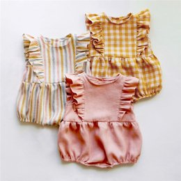 Wholesale twin suits for sale – designer Newborn Baby Bodysuit Children Clothing Twins Fashion Little Girls Clothes Jumpsuit Girls Clothing Suit Linen M Body Bebe