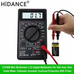 lcd ammeter voltmeter Canada - HiDANCE Mini LCD Digital Multimeter For Volt Amp Ohm Tester Meter Voltmeter Ammeter Overload Protection With Probe ubkD#