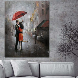couple painting art UK - Abstract Romantic Couple Rain Day Street Canvas Painting Modern Landscape Art Poster Prints Wall Art Pictures for Living Room Home Decor