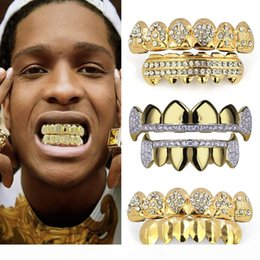 teeth fangs UK - 18K Real Gold Punk Hiphop CZ Zircon Poker Letters Vampire Teeth Fang Grillz Diamond Grills Braces Tooth Cap Rapper Jewelry for Cosplay Party