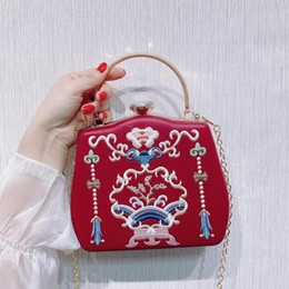 flower clutch bags NZ - ABERA 2020 new women leather clutch bags embroidery flowers banquet purse for ladies vintage red party wallets drop shipping MN1592