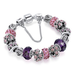 royal crown charm UK - 18 19 20 CM Charm Bracelet 925 Silver plated Bracelets Royal Crown Accessories Purple Crystal Bead Diy Wedding Jewelry with box