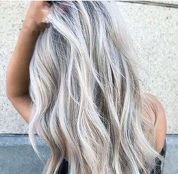 anime curly hair UK - Bleaching dyeing long curly hair loose deep wave body wave cosplay gray gradient anime wig new female fiber wig full wigs