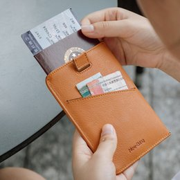 passport tickets wallet UK - allets Holders Card ID Holders NewBring Leather Passport Cover Travel Wallet Men for Credit Card Checkbook id Holder Ticket Clip Purse Pa...