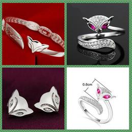 Venta al por mayor de 925 de plata de ley chapado Pendientes Anillos Fox la pulsera del anillo amor con fiesta de la boda las mujeres La pulsera anillos de cristal de amor de diseño abierto