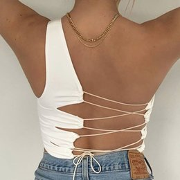 Womens Camis sexy Backless Criss-Cross coulisse Crop Tops spalla di modo uno di colore naturale Camis Abbigliamento da donna