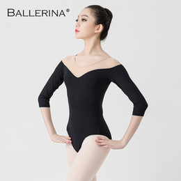 Wholesale black leotard costume women for sale - Group buy Ballet Black Leotards For Women Yoga Sexy aerialist Dance Costume gymnastics long sleeve Leotards Ballerina