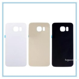 s6 back housing Australia - Glass Battery Door For Samsung S6 G920 G920F G920A Rear Back Housing Cover Case Shell Replacement Parts White Black Blue Gold