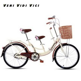 inch tires UK - Venividivici 22 24 inch Rubber tires Ladies bicycle parent-child bicycle double person bicycle Electroplated child pedal