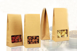 kraft paper tea packaging box 2020 - 10*23.5*6cm 300pcs Quality packaging Kraft paper Stand Up bag Food Square window box Bags of nuts Tea Cake Cookies Coffe