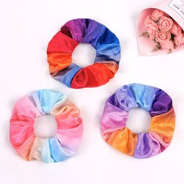 vintage girl fashion hair NZ - Fashion Rainbow Velvet Stretchy Vintage Hair Scrunchies Women Scrunchy Elastic HairBands Girls Headwear Tie-Dyed Hair Ties