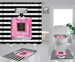 Wholesale Bottle Print Shower Curtains Sets Hipster High-grade Four-piece Suit Bathroom Anti-peeping Non-slip Deodorant Bath Mats Free Shipping
