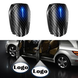 car wireless led shadow UK - 2PCS Rechargeable LED Car Door Welcome Courtesy Step Lights Shadow Projector Logo Light Wireless Laser Emblem Lamp Kits for Car