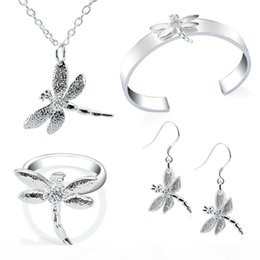 sterling silver dragonfly bracelet NZ - Dragonfly Jewelry Sets Necklace Bangle Earrings Ring Sterling Silver Fashion Jewelry New Arrival Nice Jewelry Christmas Gift Free Shipping