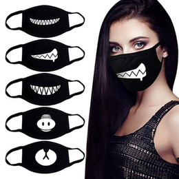 cute cartoon face masks Australia - Black Washable Cute Teeth Cartoon Pattern Face Mouth Mask Cotton Adult Kids Anti Dust Respirator Windproof Mascarillas Party Mask