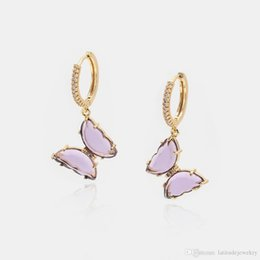 pink butterfly glasses Australia - Luxury jewelry women pink purple glass butterfly designer earrings copper with gold plated diamond earrings for girl fashion style hoop stud